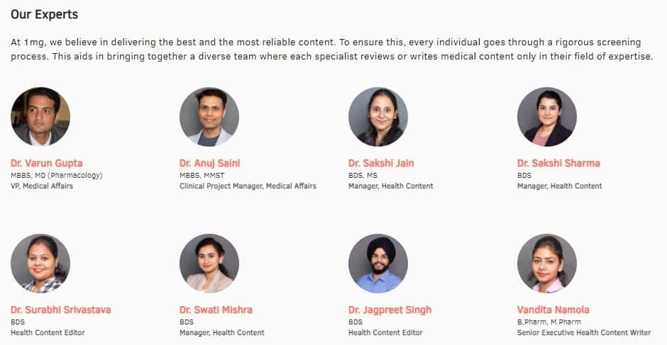 1mg - Content Editiorial Team - Displaying Medical Expertise